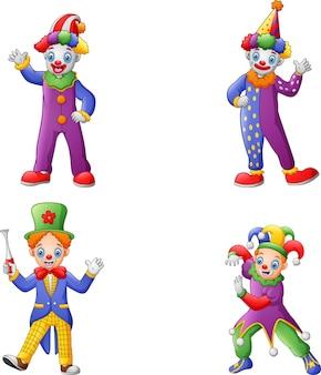 Zestaw kolorowych przyjaznych klaunów w klasycznych strojach