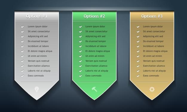 Zestaw kolorowych przykładowych naklejek do różnych opcji. .