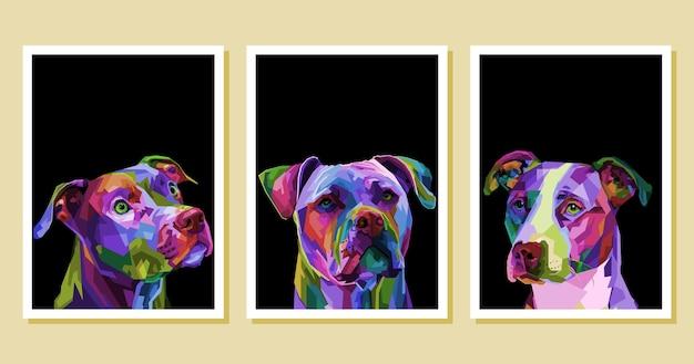 Zestaw kolorowych psów pitbull terrier na geometrycznym pop-artu.