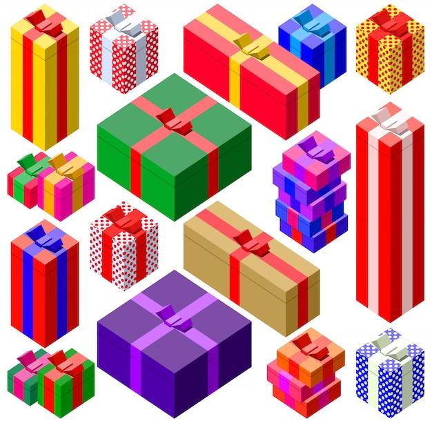 Zestaw kolorowych pudełek prezentowych w różnych rozmiarach