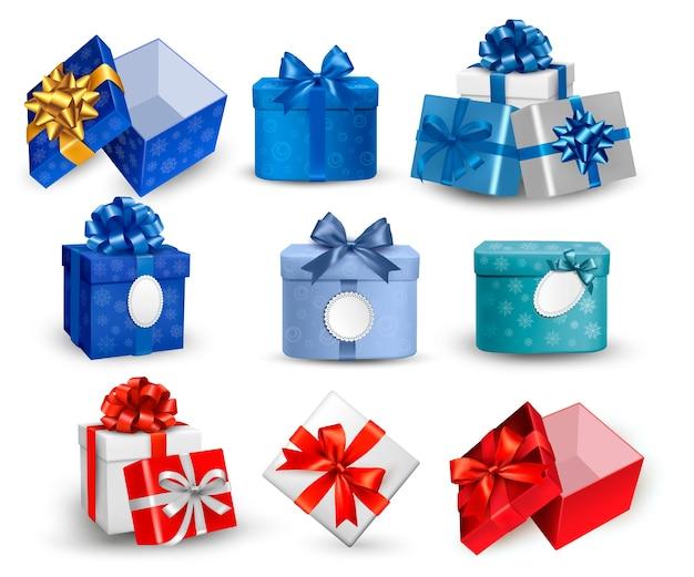 Zestaw kolorowych pudełek prezentowych z kokardkami i wstążkami