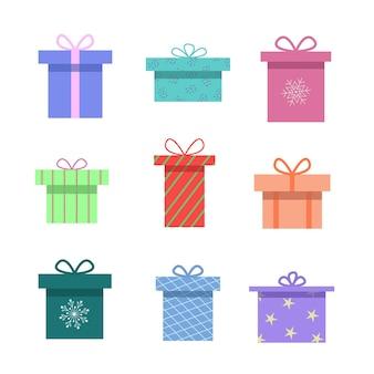 Zestaw kolorowych pudełek z wstążkami, ilustracji wektorowych.