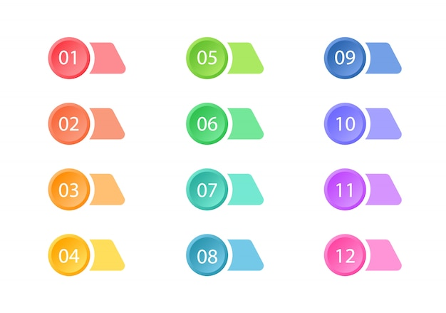 Zestaw kolorowych punktorów. przyciski internetowe. elementy.