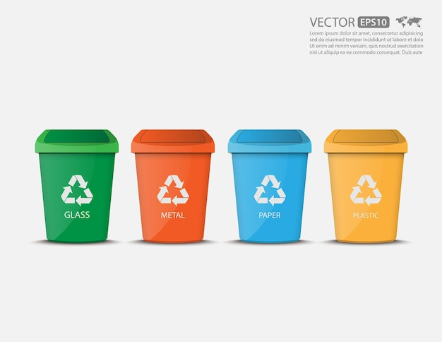 Zestaw kolorowych pustych koszach recyklingu