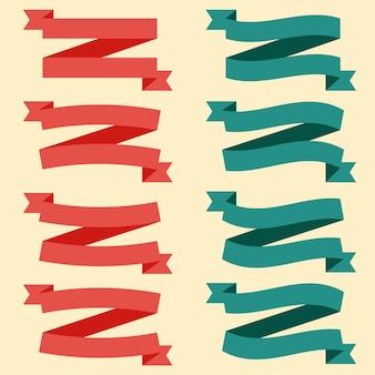 Zestaw kolorowych pustych wstążek i banerów. gotowy na twój tekst lub projekt. ilustracja na białym tle wektor.