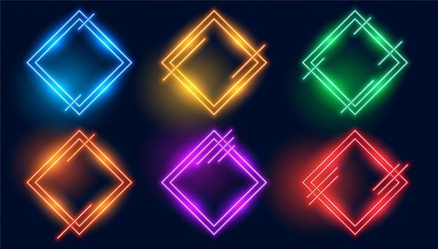 Zestaw kolorowych ramek neonowych w kształcie rombu lub rombu