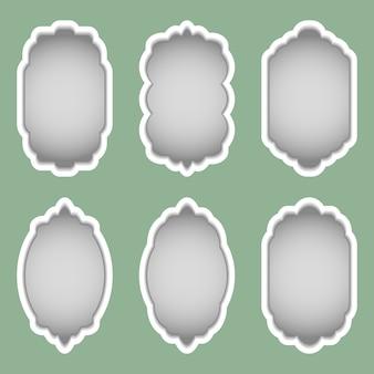Zestaw kolorowych ramek o różnych kształtach.