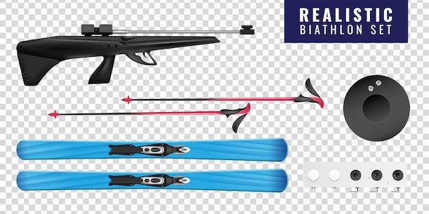 Zestaw kolorowych realistycznych biathlonowych przezroczystych poziomych ikon z pistoletem narciarskim i celem
