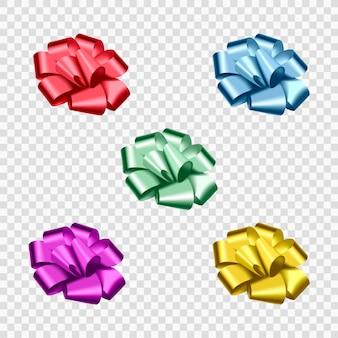 Zestaw kolorowych realistycznych kokardek na prezent.