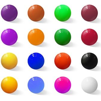 Zestaw kolorowych realistycznych kulek.