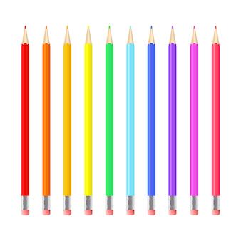 Zestaw kolorowych realistycznych ołówków.