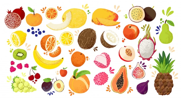 Zestaw kolorowych ręcznie rysować owoce - tropikalne słodkie owoce i owoce cytrusowe ilustracji. jabłko, gruszka, pomarańcza, banan, papaja, owoc smoka i inne.