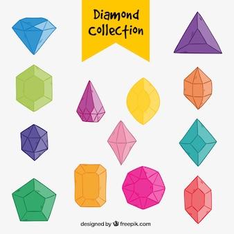 Zestaw kolorowych ręcznie rysowane diamentami
