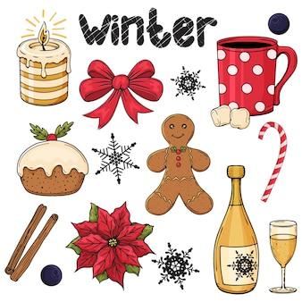 Zestaw kolorowych ręcznie rysowane elementy zimowe. boże narodzenie tradycyjne przedmioty. poinsecja, cynamon. ilustracja. czarny i biały. na białym tle.