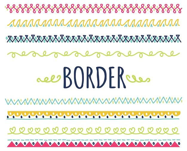 Zestaw kolorowych ręcznie rysowane granicy