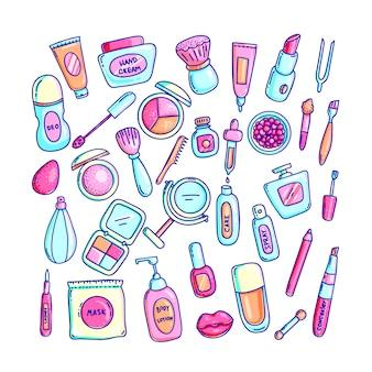Zestaw kolorowych ręcznie rysowane ilustracje kosmetyków