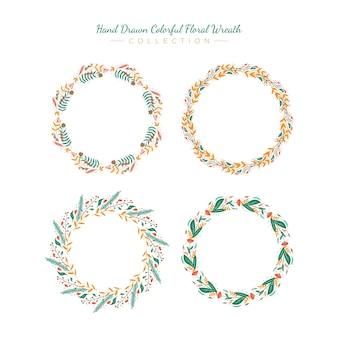 Zestaw kolorowych, ręcznie rysowanych kolorowych kwiatów wieniec kolekcji wektor szablon ilustracji premium