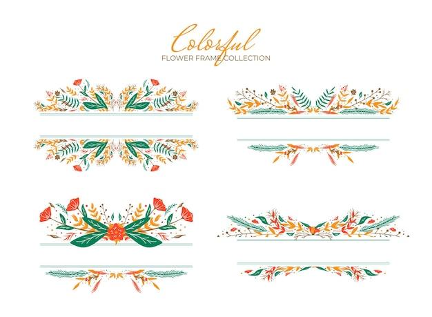 Zestaw kolorowych ręcznie rysowanych kwiatów granicy kolekcji wektor szablon ilustracji premium