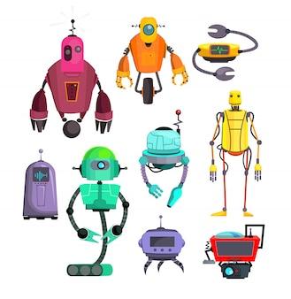 Zestaw kolorowych robotów