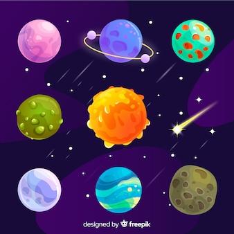 Zestaw kolorowych różnych planet płaskich