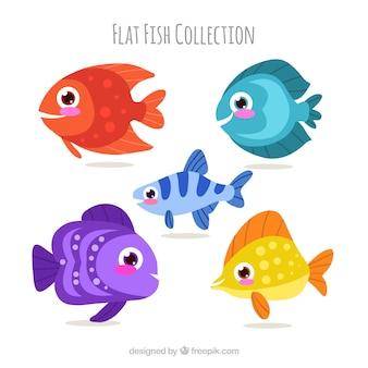 Zestaw kolorowych ryb w stylu płaski