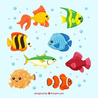 Zestaw kolorowych ryb w stylu wyciągnąć rękę