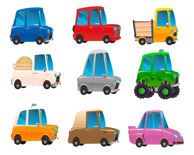 Zestaw kolorowych samochodów kreskówek
