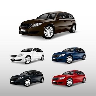 Zestaw kolorowych samochodów wektory hatchback