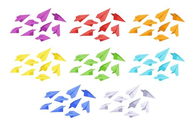 Zestaw kolorowych samolotów papierowych