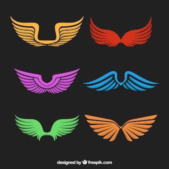 Zestaw kolorowych skrzydłach