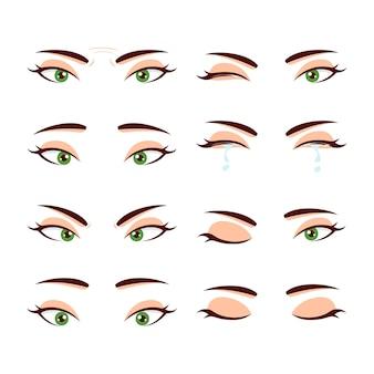 Zestaw kolorowych ślicznych kobiecych oczu i brwi z różnymi wyrazami