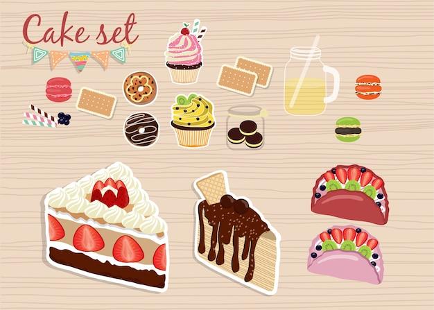 Zestaw kolorowych słodkich ciast. torty urodzinowe