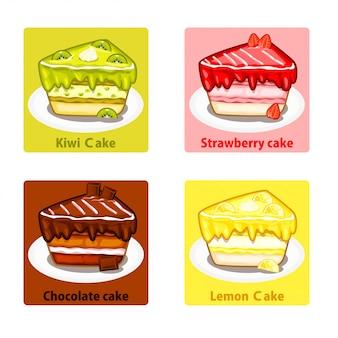 Zestaw kolorowych słodkich ciast