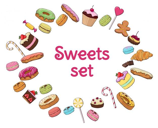 Zestaw kolorowych słodkich produktów