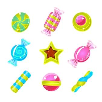 Zestaw kolorowych słodkich prostych ikon hard candy