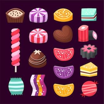 Zestaw kolorowych słodyczy walentynkowych dla zakochanych par.