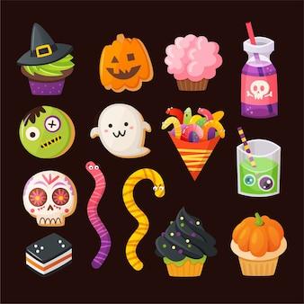 Zestaw kolorowych smakołyków na imprezę halloween. zdobione babeczki, ciasteczka z cukrem. ikony wektorowe.