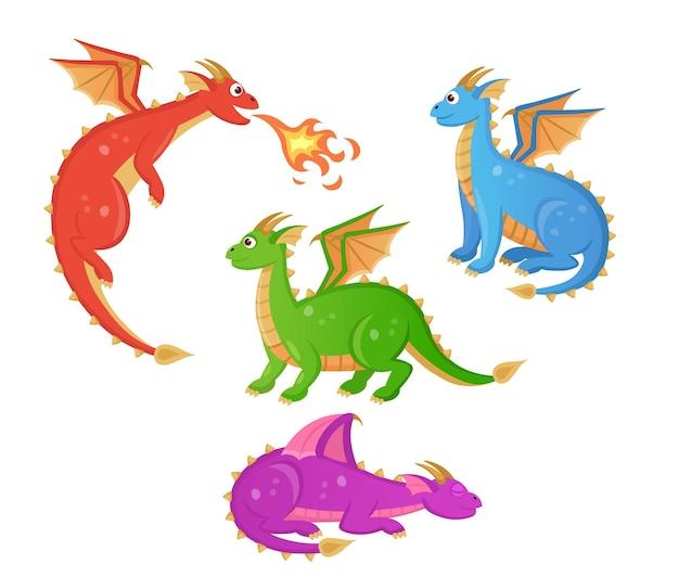 Zestaw kolorowych smoków kreskówek bajkowe gady ze skrzydłami ilustracja fantasy zwierząt chara