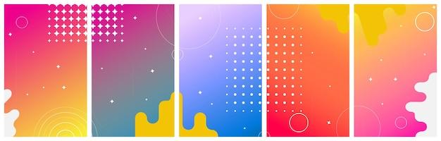 Zestaw kolorowych streszczenie z kręgami do opowiadań sieci społecznościowych