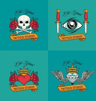 Zestaw kolorowych stylów tatuaży