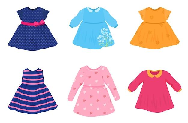Zestaw kolorowych sukienek dla dziewczyn ilustracja