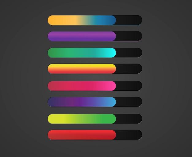 Zestaw kolorowych suwaków paska zasobów gry gradientowej elementy interfejsu interfejsu użytkownika