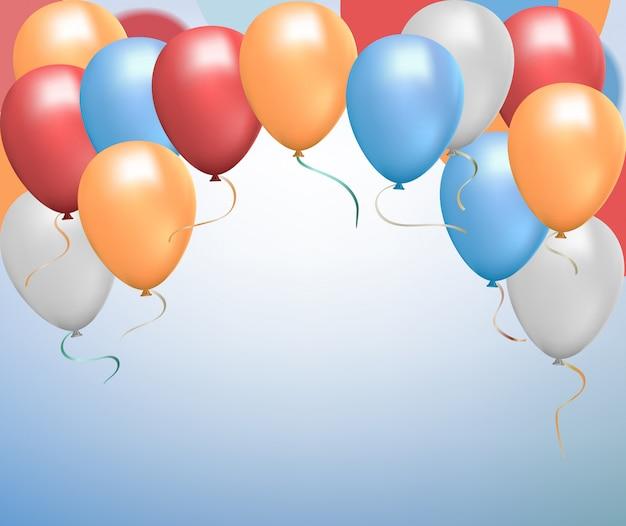 Zestaw kolorowych świecących balonów helowych. latające realistyczne błyszczące czerwone, niebieskie, szare, żółte balony ze wstążkami.