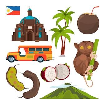 Zestaw kolorowych symboli filipin.