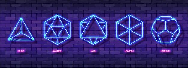 Zestaw kolorowych symboli mystic esoteric neon. pięć minimalnych idealnych brył platońskich.