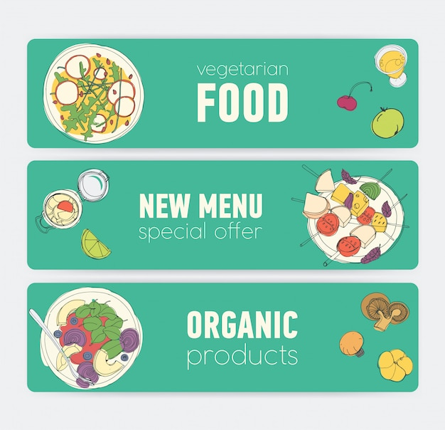 Zestaw kolorowych szablonów banerów poziomych z wegańskimi produktami i posiłkami na talerzach ręcznie rysowane na zielonym tle. oferty specjalne i promocje. ilustracja do reklamy restauracji wegetariańskiej.