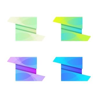 Zestaw kolorowych szablonów projektu logo w pudełku