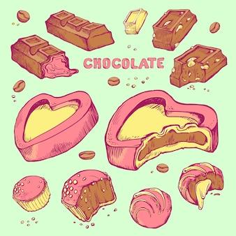 Zestaw kolorowych szkiców ugryzionych czekoladek. bułki, batony, szkliwione, ziarno kakaowe.