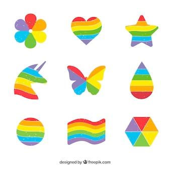 Zestaw kolorowych tęczy