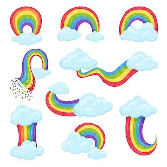 Zestaw kolorowych tęcz z niebieskimi puszystymi chmurami. dekoracyjne naklejki ścienne do pokoju dziecięcego
